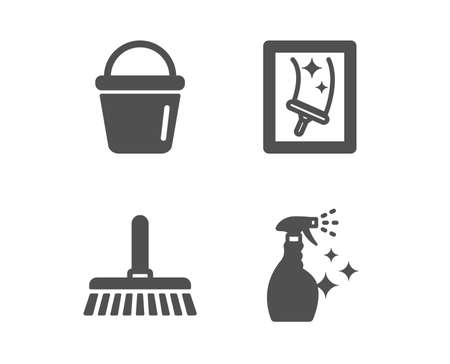 Ensemble d'icônes de nettoyage de vadrouille, de seau et de vitres. Signe de nettoyant de lavage. Balayer un sol, Matériel de lavage, Service d'entretien ménager. Spray d'entretien ménager. Icône de vadrouille de nettoyage design classique. Conception plate