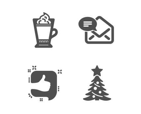 Set of Latte coffee, Like and New mail icons. Christmas tree sign. Hot drink with whipped cream, Thumb up, Received e-mail. Spruce.  Classic design latte coffee icon. Flat design. Vector