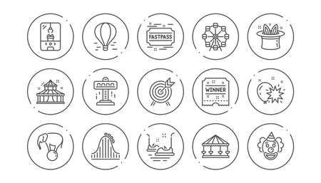 Amusement park line icons. Carousel, Roller coaster and Circus. Ferris wheel linear icon set. Line buttons with icon. Editable stroke. Vector