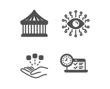 Set of Consolidation, Carousels and Artificial intelligence icons. Online test sign. Strategy, Attraction park, All-seeing eye. Examination.  Classic design consolidation icon. Flat design. Vector Illustration