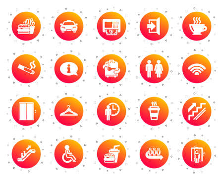 Public Services, Wifi icons. Elevator, Cloakroom and Taxi icons. Exit, ATM and Escalator. Wifi, Lift or elevator, Restaurant food. Public cloakroom, information, coffee and smoking. Vector 矢量图像