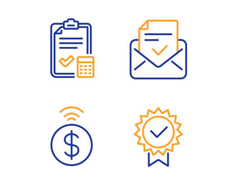 Approved mail, Accounting checklist and Contactless payment icons simple set. Certificate sign. Confirmed document, Calculator, Financial payment. Verified award. Education set. Vector