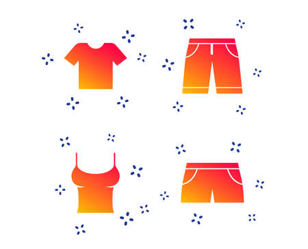 Clothes icons. T-shirt and bermuda shorts signs. Swimming trunks symbol. Random dynamic shapes. Gradient shirt icon. Vector
