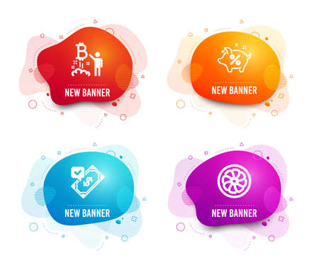 Liquid badges. Set of Loan percent, Bitcoin project and Accepted payment icons. Fan engine sign. Piggy bank, Cryptocurrency startup, Bank transfer. Ventilator.  Gradient loan percent icon. Vector Standard-Bild - 124116176