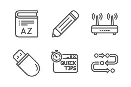 Usb stick, Pencil and Quick tips icons simple set. Vocabulary, Wifi and Methodology signs. Memory flash, Edit data. Science set. Line usb stick icon. Editable stroke. Vector Foto de archivo - 124116177