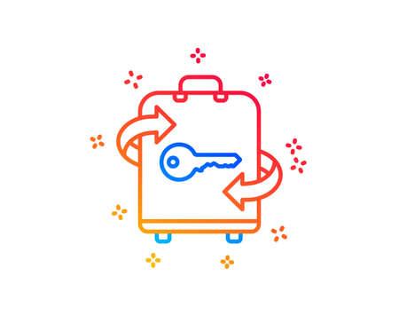 Luggage room line icon. Baggage Locker sign. Travel service symbol. Gradient design elements. Linear luggage icon. Random shapes. Vector Illustration