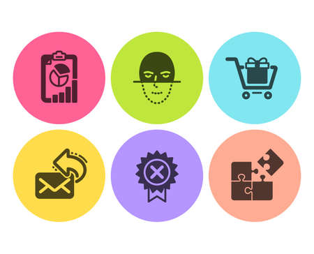 Share mail, Reject medal and Report icons simple set. Shopping cart, Face recognition and Puzzle signs. New e-mail, Award rejection. Technology set. Flat share mail icon. Circle button. Vector