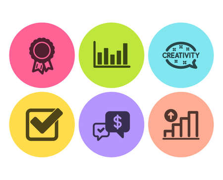 Payment received, Creativity and Checkbox icons simple set. Success, Column chart and Graph chart signs. Money, Inspiration. Education set. Flat payment received icon. Circle button. Vector Illustration