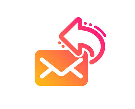 Share mail icon. New newsletter sign. Phone E-mail symbol. Classic flat style. Gradient share mail icon. Vector