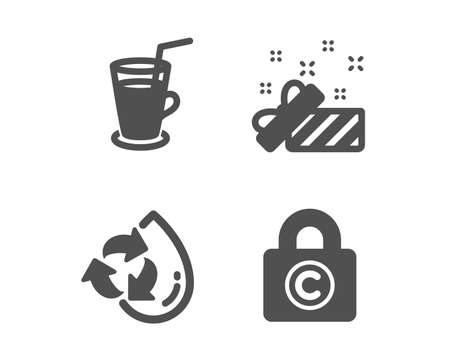 Set of Recycle water, Present and Cocktail icons. Copyright locker sign. Refill aqua, Gift, Fresh beverage. Private information.  Classic design recycle water icon. Flat design. Vector Illustration