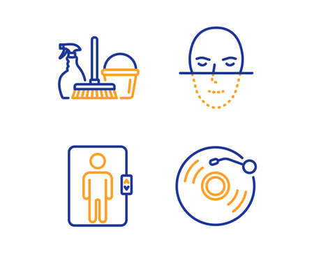 Elevator, Face recognition and Household service icons simple set. Vinyl record sign. Office transportation, Faces biometrics, Cleaning equipment. Retro music. Business set. Linear elevator icon Stock Illustratie