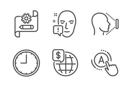 World money, Cogwheel blueprint and Time icons simple set. Face id, Face attention and Ab testing signs. Global markets, Edit settings. Science set. Line world money icon. Editable stroke. Vector