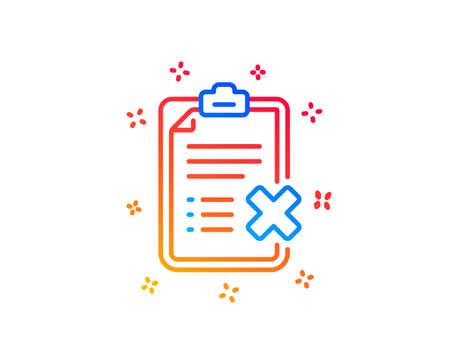 Reject checklist line icon. Decline document sign. Delete file. Gradient design elements. Linear reject checklist icon. Random shapes. Vector