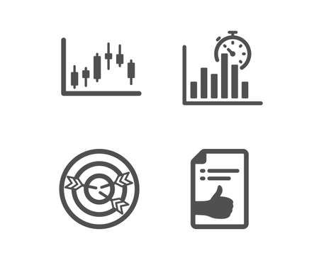 Set of Candlestick graph, Targeting and Report timer icons. Approved document sign. Finance chart, Target with arrows, Growth chart. Like symbol.  Classic design candlestick graph icon. Flat design