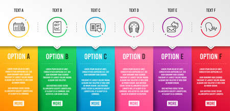 Love book, Headphones and Calendar icons simple set. Report document, Share mail and Breathing exercise signs. Customer feedback, Earphones. Education set. Infographic template. 6 steps timeline Illustration