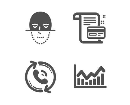 Set of Call center, Payment card and Face recognition icons. Infochart sign. Recall, Agreement conditions, Faces biometrics. Stock exchange.  Classic design call center icon. Flat design. Vector Ilustração