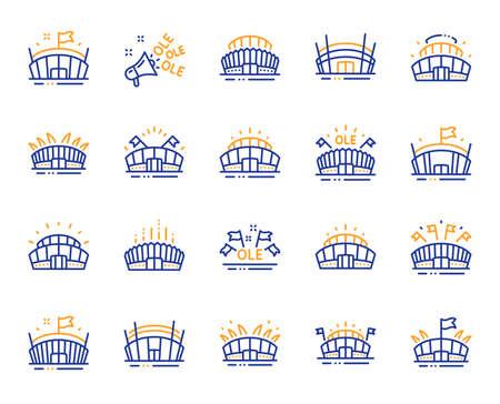Icônes de ligne de stade de sport. Ole chant, football d'arène, architecture de championnat. Stade Arena, compétition sportive, icônes de drapeau d'événement. Complexe sportif, mégaphone ou haut-parleur. Vecteur Vecteurs