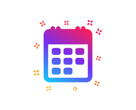 Calendar icon. Event reminder sign. Agenda symbol. Dynamic shapes. Gradient design calendar icon. Classic style. Vector