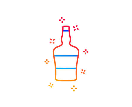 bottle line icon. Brandy alcohol sign. Gradient design elements. Linear bottle icon. Random shapes. Vector Ilustração