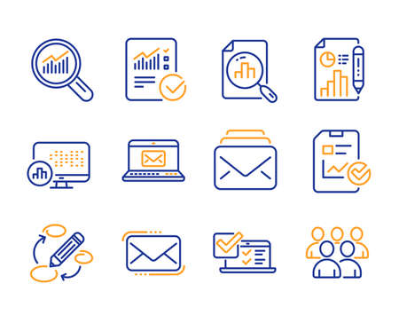Analytics graph, Mail and Keywords icons simple set. Data analysis, Messenger mail and E-mail signs. Online survey, Report statistics and Checked calculation symbols. Report document, Group. Vector
