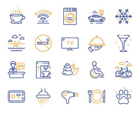 Ikony linii usług hotelowych. WiFi, klimatyzacja i ekspres do kawy. Spa kamienie, basen i ikony wypożyczalni rowerów. Parking hotelowy, sejf i prysznic. Jedzenie, filiżanka kawy. Wektor