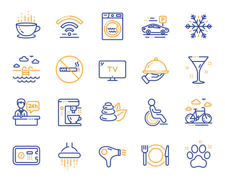 Hotel service line icons. WiFi, Air conditioning and Coffee maker machine. Spa stones, swimming pool and bike rental icons. Hotel parking, safe and shower. Food, coffee cup. Vector Illustration