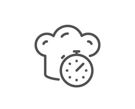 Cooking timer line icon. Frying stopwatch sign. Food preparation symbol. Quality design element. Linear style cooking timer icon. Editable stroke. Vector