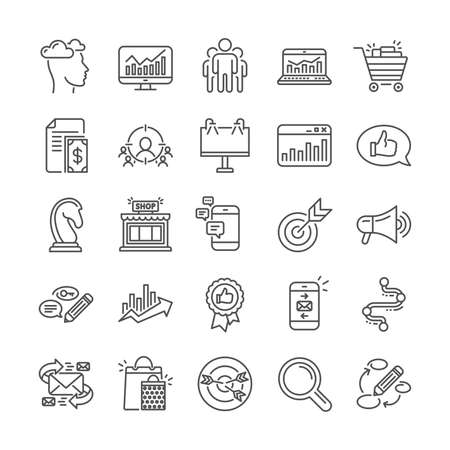Marketing, research line icons. Set of Feedback, Strategy target, Advertisement campaign icons. Research marketing, Communication and Keywords. Chess Knight, Target, Mail. Business strategy. Vector Illustration
