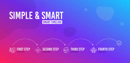 Infographic timeline. Sms, Continuing education and Accounting wealth icons simple set. Sharing economy sign. Conversation, Online education, Audit report. Share. Education set. 4 steps layout. Vector Standard-Bild - 124116460