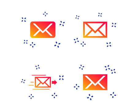 Mail envelope icons. Message delivery symbol. Post office letter signs. Random dynamic shapes. Gradient mail icon. Vector
