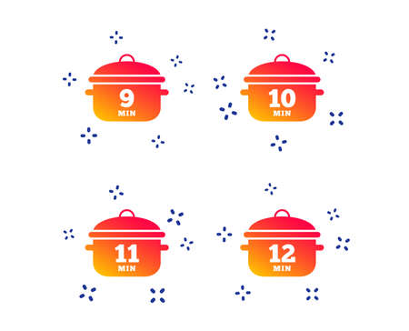Cooking pan icons. Boil 9, 10, 11 and 12 minutes signs. Stew food symbol. Random dynamic shapes. Gradient cooking pan icon. Vector