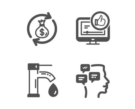 Set of Like video, Tap water and Money exchange icons. Messages sign. Thumbs up, Faucet, Cash in bag. Notifications.  Classic design like video icon. Flat design. Vector