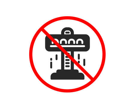 No or Stop. Carousels icon. Amusement attraction park sign. Prohibited ban stop symbol. No attraction icon. Vector Illustration