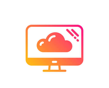Computer icon. Cloud storage service sign. Monitor symbol. Classic flat style. Gradient cloud storage icon. Vector