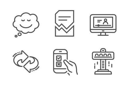 Refresh, Online video and Corrupted file icons simple set. Speech bubble, Mobile survey and Attraction signs. Rotation, Video exam. Technology set. Line refresh icon. Editable stroke. Vector Illustration
