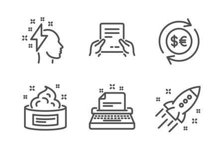 Receive file, Brainstorming and Money currency icons simple set. Typewriter, Skin cream and Startup rocket signs. Hold document, Lightning bolt. Business set. Line receive file icon. Editable stroke