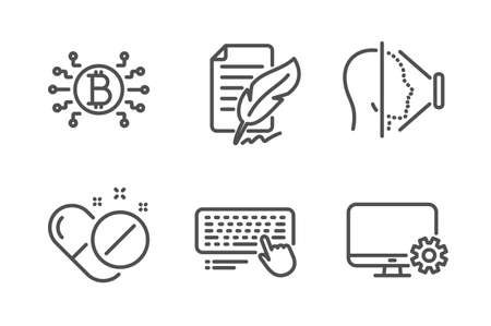 Bitcoin system, Face id and Computer keyboard icons simple set. Feather signature, Medical pills and Monitor settings signs. Cryptocurrency scheme, Phone scanning. Science set. Vector