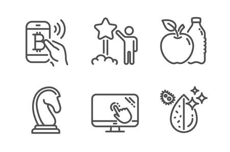 Star, Apple and Touch screen icons simple set. Marketing strategy, Bitcoin pay and Dirty water signs. Launch rating, Diet food. Business set. Line star icon. Editable stroke. Vector