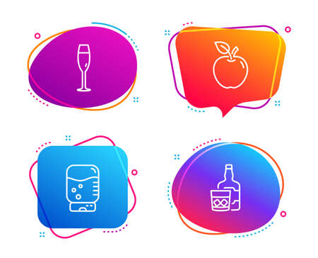 Water cooler, Champagne glass and Apple icons simple set. Whiskey glass sign. Office drink, Winery, Fruit. Scotch drink. Food and drink set. Speech bubble water cooler icon. Vector