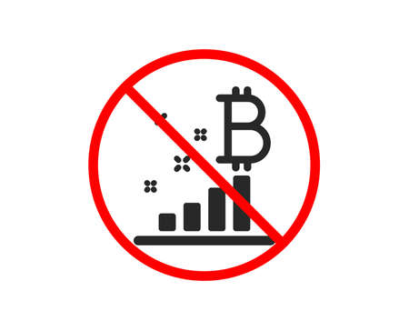 No or Stop. Bitcoin graph icon. Cryptocurrency analytics sign. Crypto money symbol. Prohibited ban stop symbol. No bitcoin graph icon. Vector Illustration