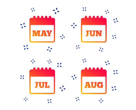 Calendar icons. May, June, July and August month symbols. Date or event reminder sign. Random dynamic shapes. Gradient calendar icon. Vector