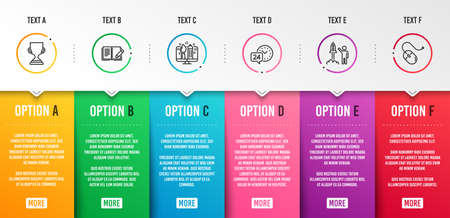 Creative design, Launch project and 24h service icons simple set. Award cup, Feedback and Computer mouse signs. Designer, Business innovation. Business set. Infographic template. 6 steps timeline