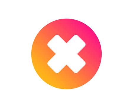 Symbol löschen. Schild entfernen. Abbrechen- oder Schließen-Symbol. Klassischer flacher Stil. Symbol für die Schaltfläche zum Schließen des Farbverlaufs. Vektor
