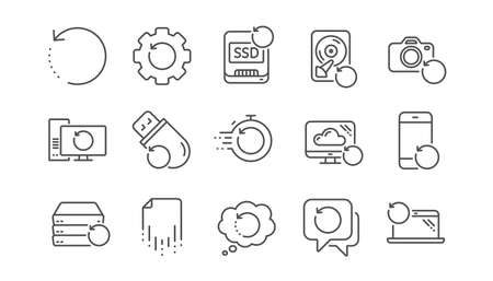Recovery line icons. Backup, Restore data and recover file. Laptop renew, drive repair and phone recovery icons. Linear set. Vector