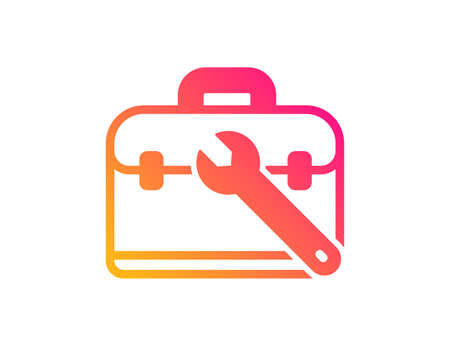 Spanner tool icon. Repair tool case sign. Fix instruments symbol. Classic flat style. Gradient tool case icon. Vector Illustration