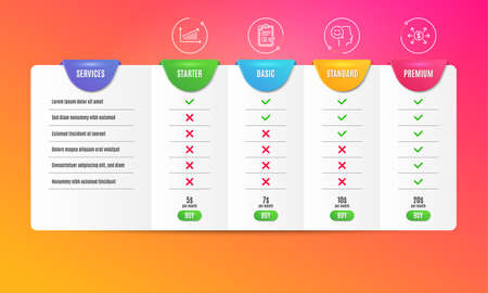 Good mood, Approved checklist and Chart icons simple set. Comparison table. Dollar exchange sign. Positive thinking, Accepted message, Presentation chart. Payment. Education set. Pricing plan. Vector