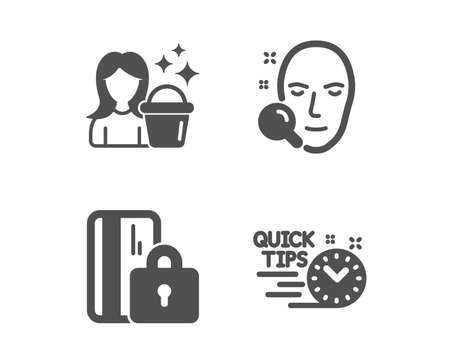 Set of Cleaning, Face search and Blocked card icons. Quick tips sign. Maid service, Find user, Private money. Helpful tricks.  Classic design cleaning icon. Flat design. Vector