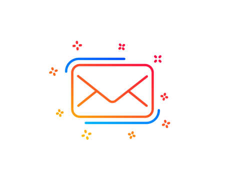 Messenger Mail line icon. New newsletter sign. Phone E-mail symbol. Gradient design elements. Linear messenger Mail icon. Random shapes. Vector