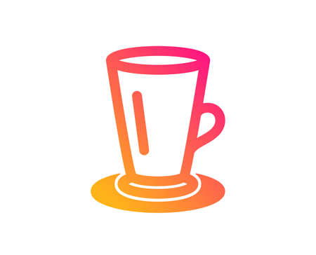 Cup of Tea icon. Fresh beverage sign. Latte or Coffee symbol. Classic flat style. Gradient teacup icon. Vector Illustration