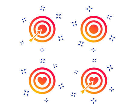 Target aim icons. Darts board with heart and arrow signs symbols. Random dynamic shapes. Gradient target icon. Vector